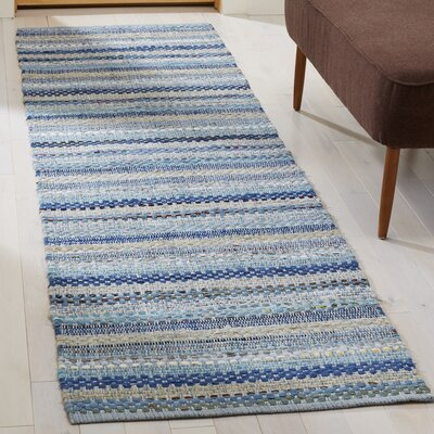 Vesey Hand-Woven Blue/Gray Area Rug Rug Size: Runner 23 x 8