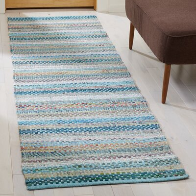 Vesey Hand-Woven Aqua/Gray Area Rug Rug Size: Runner 23 x 8