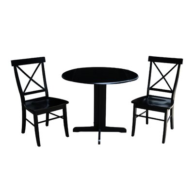 Trepanier 3 Piece Drop Leaf Dining Set Color: Black