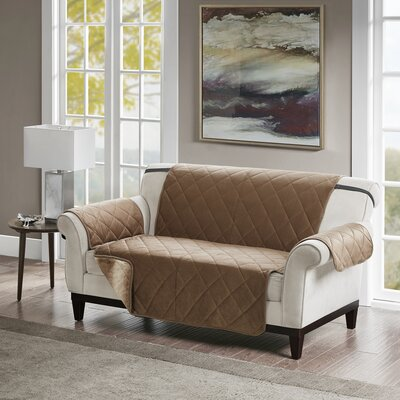 Floral Cotton Printed Reversible Box Cushion Loveseat Slipcover Upholstery: Polyester Solid Tan