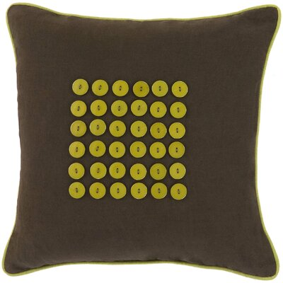Khan Button 100% Cotton Throw Pillow Color: Chocolate/Lime, Fill Material: Down