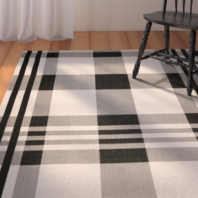 Frazier Black/Bone Indoor/Outdoor Area Rug Rug Size: Rectangle 4 x 57