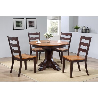 Dessert Deco Antiqued Transitional Ladder Back 5 Piece Extendable Dining Set Color: Whiskey Mocha