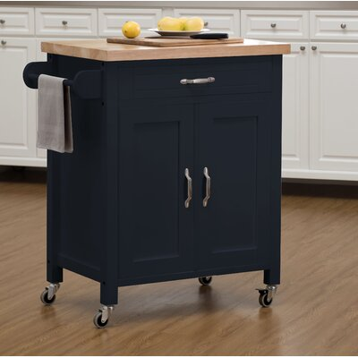 Philomene Contemporary Wood Kitchen Cart Base Finish: Navy