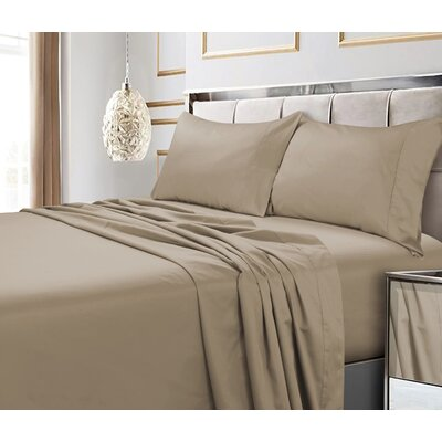 Tolson 600 Thread Count 4 Piece Egyptian Quality Cotton Deep Pocket Sheet Set Size: King, Color: Clay