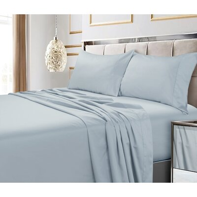 Hiram 600 Thread Count 6-Piece Egyptian Quality Cotton Sateen Deep Pocket Sheet Set Size: Cal King, Color: Sky Blue