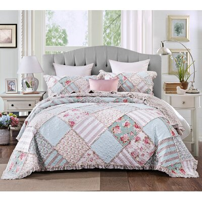 DaDa Bedding Hint of Mint Pastel Cotton Patchwork Ruffle Quilted Bedspread Set - Bright Vibrant Multi Colourful Blue Green Pink Floral - Cal King - 3-Pieces
