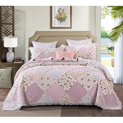 DaDa Bedding Strawberry Shortcake Cotton Patchwork Ruffle Quilted Bedspread Set - Bright Vibrant Multi Colourful Pink Floral - Cal King - 3-Pieces