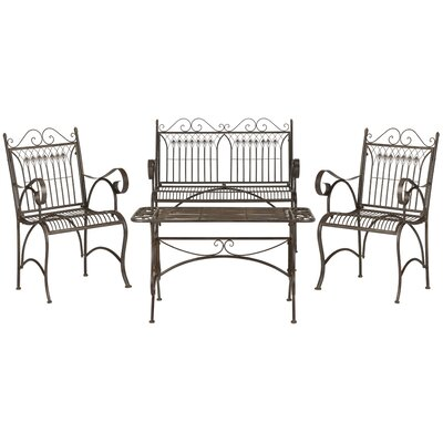 Catharine 4 Piece Bench Seating Group Finish: Rustic Brown