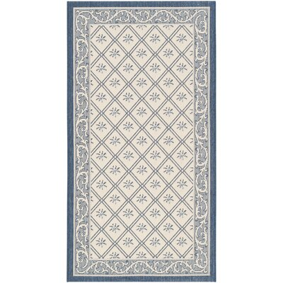 Rhine Beige/Navy Indoor/Outdoor Area Rug Rug Size: Rectangle 27 x 5
