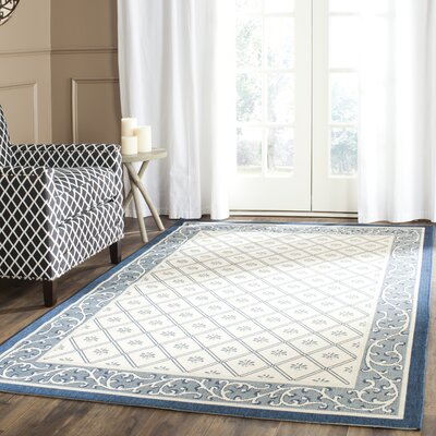 Rhine Beige/Navy Indoor/Outdoor Area Rug Rug Size: 53 x 77
