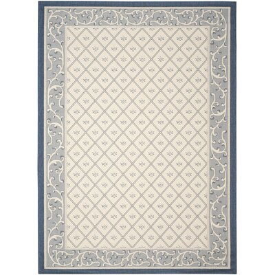 Rhine Beige/Navy Indoor/Outdoor Area Rug Rug Size: Rectangle 8 x 11