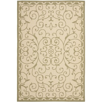 Rhine 6000 Cream/Green Area Rug Rug Size: 67 x 96
