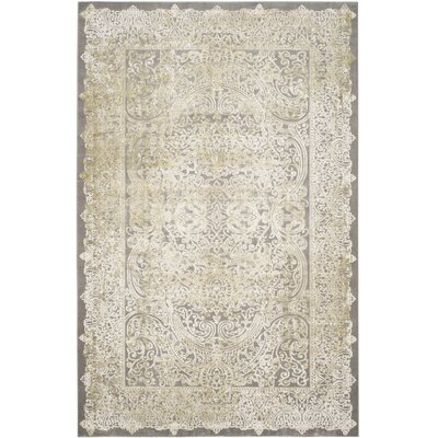 Auguste Gray/Green Area Rug Rug Size: 51 x 77