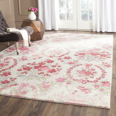 Monaco Ivory/Pink Area Rug Rug Size: Rectangle 67 x 92