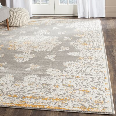 Auguste Gray/Ivory Area Rug Rug Size: Rectangle 4 x 57