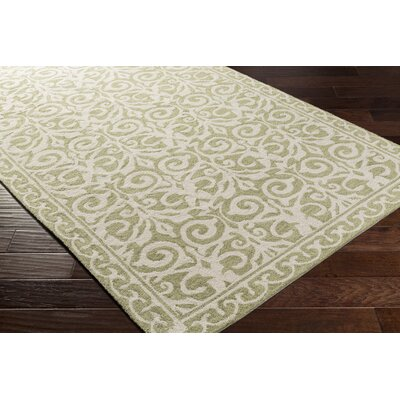 Bastien Hand-Hooked Olive/Beige Area Rug Rug Size: Rectangle 4 x 6