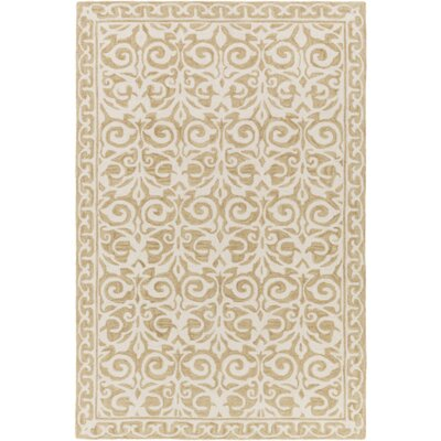 Bastien Hand-Hooked Beige Area Rug Rug Size: Rectangle 4 x 6