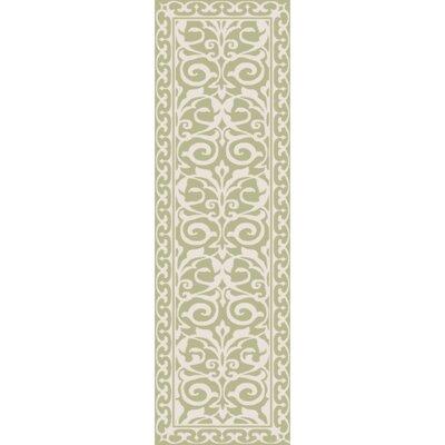 Bastien Hand-Hooked Olive/Beige Area Rug Rug Size: Runner 26 x 8