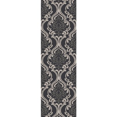 Bastien Black/Light Gray Area Rug Rug Size: Runner 26 x 8