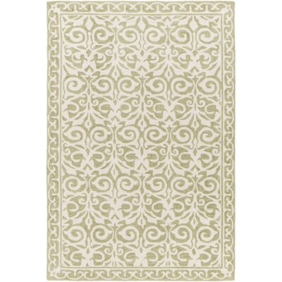Bastien Hand-Hooked Olive/Beige Area Rug Rug Size: Rectangle 5 x 76