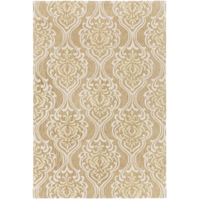 Bastien Hand-Hooked Beige/Ivory Area Rug Rug Size: Rectangle 4 x 6