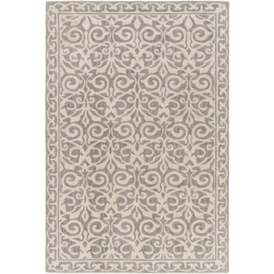 Bastien Hand-Hooked Gray Area Rug Rug Size: Rectangle 48.5 x 76
