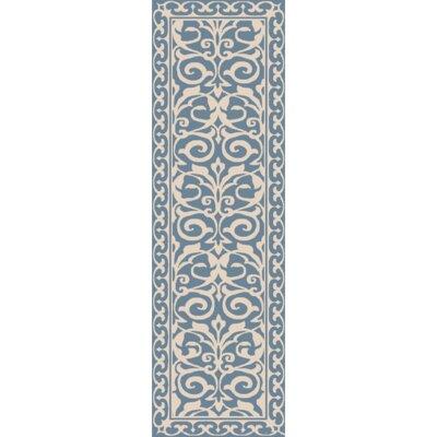 Bastien Hand-Hooked Blue/Beige Area Rug Rug Size: Runner 26 x 8