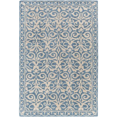 Bastien Hand-Hooked Blue/Beige Area Rug Rug Size: Rectangle 8 x 10
