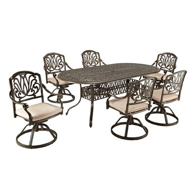 Artie 7 Piece Dining Set with Cushions Finish: Taupe