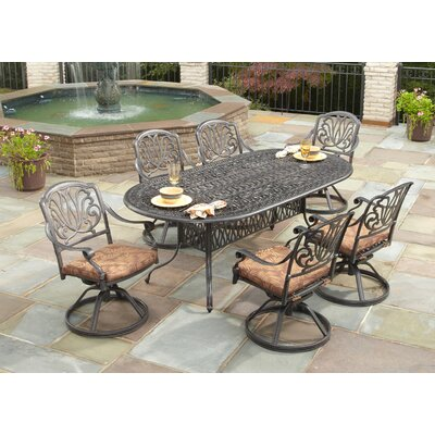 Artie 7 Piece Dining Set with Cushions Finish: Charcoal
