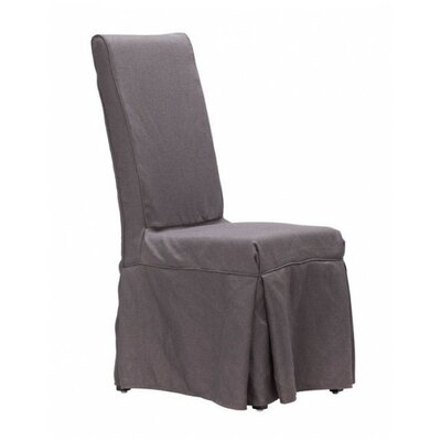 Pontmain Dog Patch Linen Slipcovered Side Chair Upholstery: Charcoal Gray