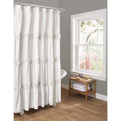 Victoria Lily Shower Curtain Color: White