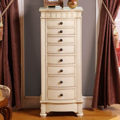Riverton Eight Drawer Jewelry Armoire Color: Cream