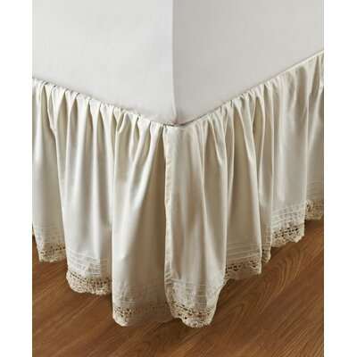 Marchant Crochet Cotton Bed Skirt Size: Twin, Color: Ivory