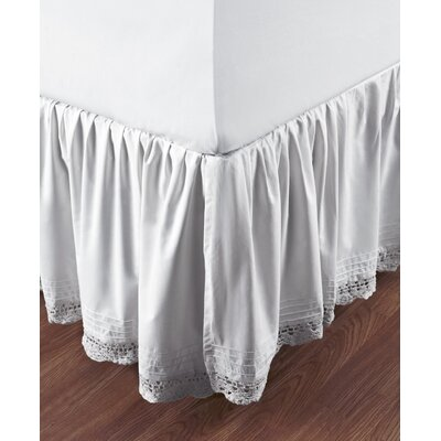 Marchant Crochet Cotton Bed Skirt Size: Twin, Color: White