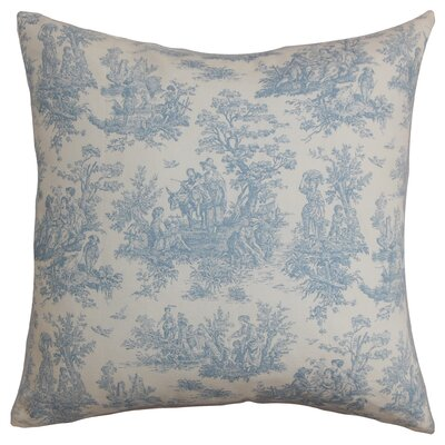 Leflore Cotton Toile Throw Pillow Color: Baby Blue, Size: 18 H x 18 W