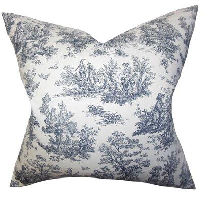 Leflore Cotton Toile Throw Pillow Color: Black, Size: 18 H x 18 W