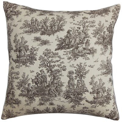 Leflore Cotton Toile Throw Pillow Color: Chocolate Natural, Size: 18 H x 18 W