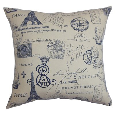 Lanctot Cotton Throw Pillow Color: Blue, Size: 18x18