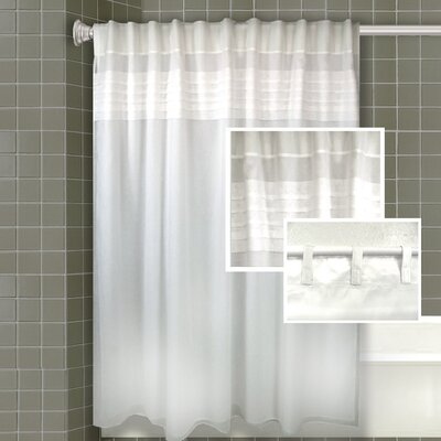 Merle All-in-One Shower Curtain Set Color: White