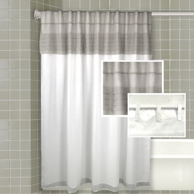 Merle All-in-One Shower Curtain Color: Grey / White