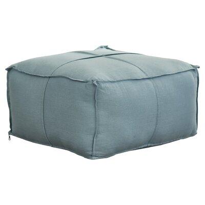 Vozelle Linen Pouf Ottoman Upholstery: Sky Blue