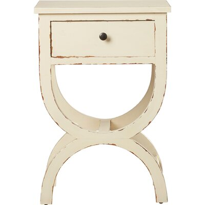 Laverriere End Table with Storage� Color: Vintage Cream