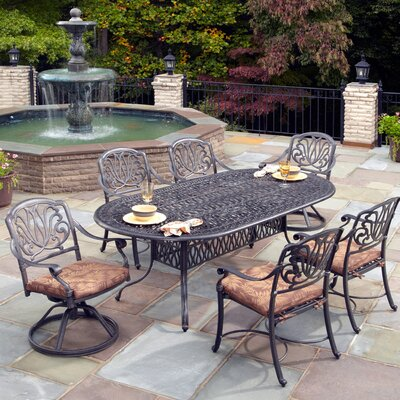 Lular 7 Piece Dining Set with Cushions Finish: Charcoal