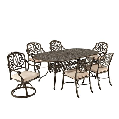 Lular 7 Piece Dining Set with Cushions Finish: Taupe
