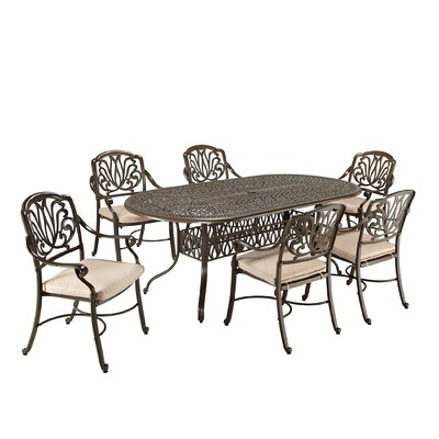 Leora 7 Piece Dining Set with Cushions Finish: Taupe