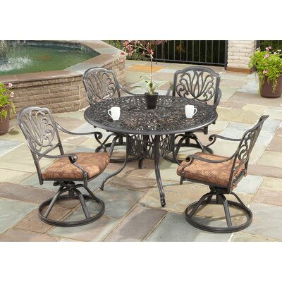 Dwight 5 Piece Dining Set with Cushions Size: 48 Table, Finish: Taupe