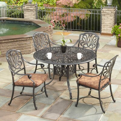 Kuna 5 Piece Dining Set with Cushions Size: 48 Table, Finish: Taupe