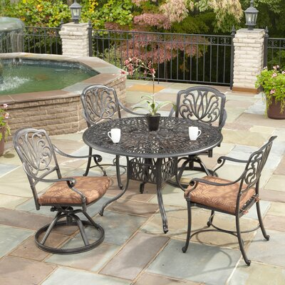 Regent 5 Piece Dining Set with Cushions Size: 48 Table, Finish: Charcoal